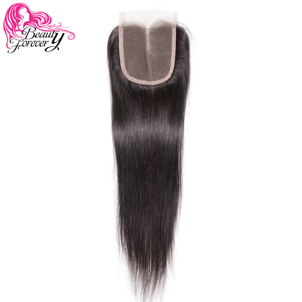 Beauty Forever Peruvian Hair Straight Lace Closure Hair Remy Human Hair 4 4 Middle Part Closure