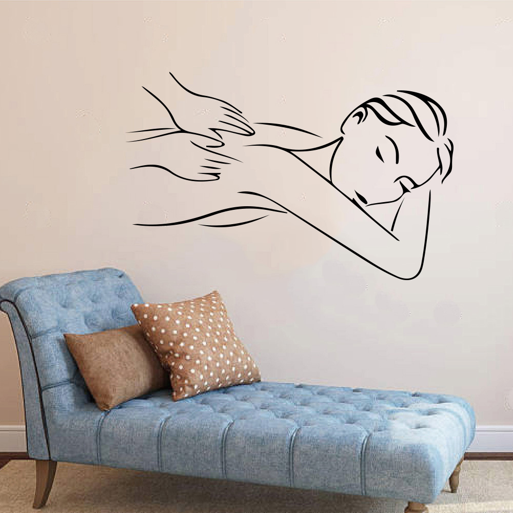 Beauty Salon Spa Massage Girl Relax Window Wall Decal Beauty Spa Salon Woman Fashion Wall Sticker Vinyl Decor Mural Art  (1)