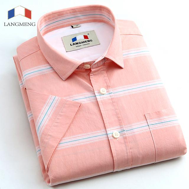 Langmeng 2016 verano 100% de algodón Para Hombre Formal Camisa de manga corta casual Slim Fit Hombre Vestido a rayas Camisas Sociales