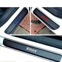 4pcs Carbon Fiber Vinyl Car Door Stickers Protector Scuff Plate for LADA XRAY Accessories