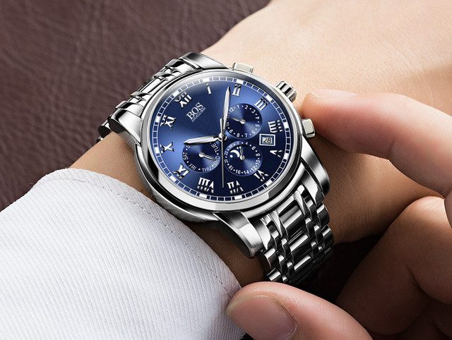 ANGELA BOS Sub Dial Work Waterproof Luminous Wristwatch Mens Watches Top Brand Luxury Famous Men's Watches For Men Quartz-watch
