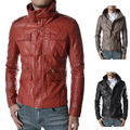 Placket zipper decoration men leather PU jacket coat of cultivate one's morality