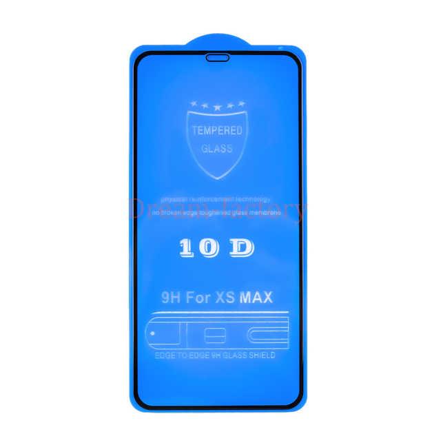 100 шт DHL для iphone XS Max XR X закаленное защитное стекло 10D полное покрытие протектор экрана для iphone 6 7 8 6 S Plus