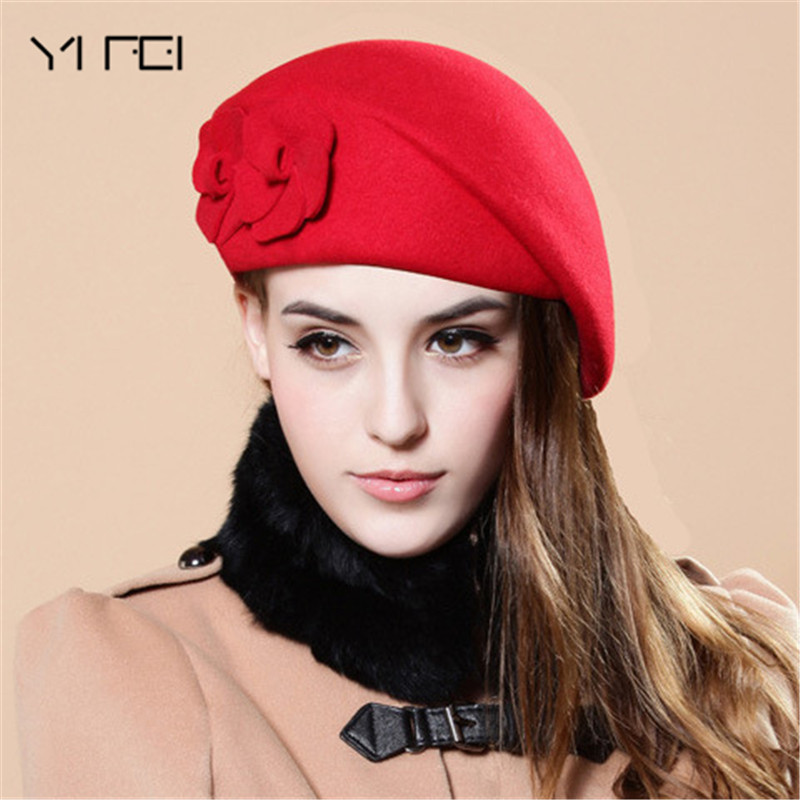YIFEI 2017 Flower French Trilby Wool Soft Stewardess Hat gorras planas New Fashion Women Beret Hat For Women Beanie Female Cap