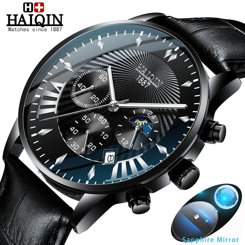 HAIQIN Mens watches top brand luxury sport Men's Watches Quartz wristwatch male Mliltary watch men waterproof Reloj hombres 2019
