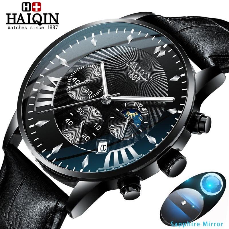 Relojes para hombre HAIQIN, relojes deportivos de lujo para hombre, relojes de pulsera de cuarzo para hombre, Reloj militar para hombre, relojes a prueba de agua, relojes para hombres 2019