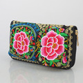 New Yunnan national double-sided embroidery clutch bag embroidered zipper phone wallet long purse Coin bag factory direct