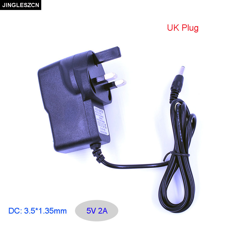 JINGLESZCN AC/DC Adapter UK Plug AC 100V-240V 50/60Hz Converter Adapter DC 5V 2A 2000mA Power Supply Charger 3.5mm x 1.35mm 1 piece 5 5 2 5 2 in 1 ac adapter dc output jack charger power supply converter cable for lenovo yoga thinkpad x1 l3fe ma 085