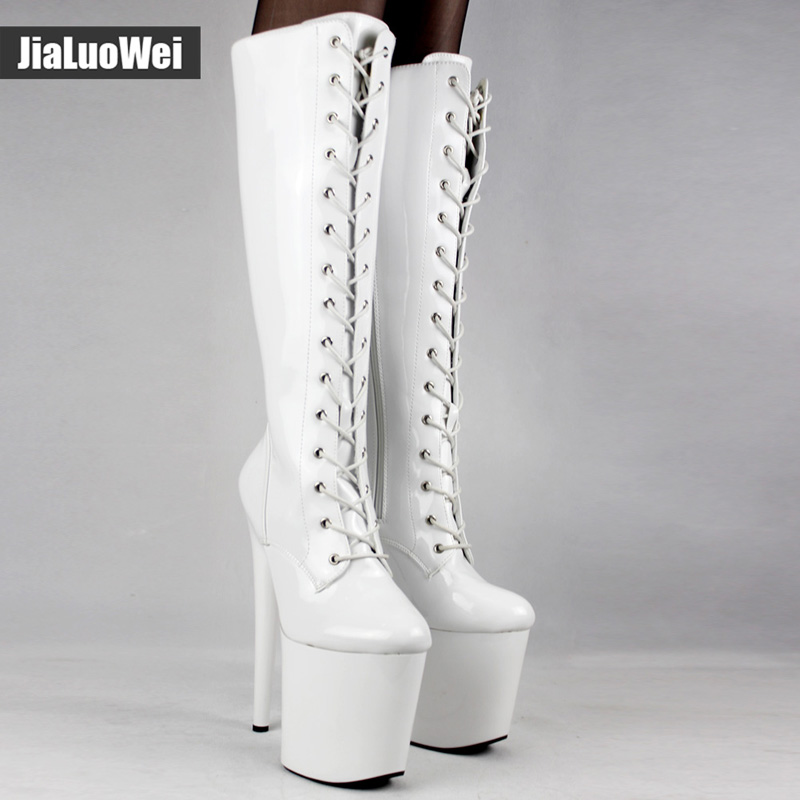 Jialuowei Womens Boots 20cm Super High Heel Platform Sexy Fashion Lace-up Pointed Stiletto Zip PU leather Knee-High Boots high waisted gray lace up womens skirts