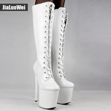 Women sexy fashion shoes Lace-up Knee-High platform thigh high boots white Stiletto Zip leather thin high-heel
