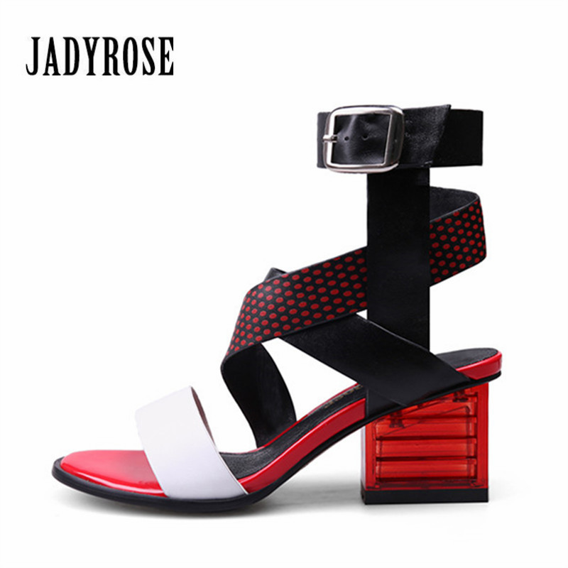 Jady Rose New Red Women Casual Shoes Summer Rome Sandals Leather High Heels Flip Flops Shoes Woman Gladiator Feminino Slippers