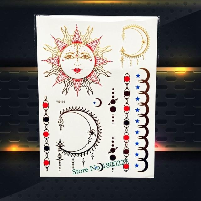 1pc Sexy Body Art Gold Temporary Tattoo Moon Soon Star Jewel Design