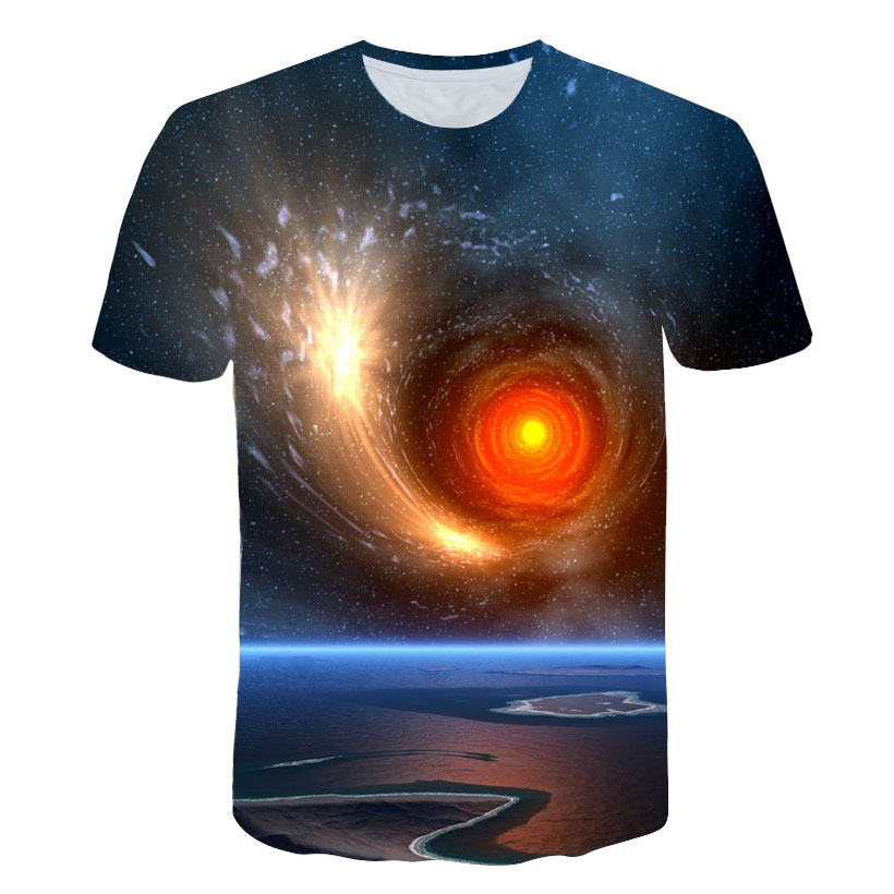 Brand Summer Harajuku Style Men's T Shirt Vincent Van Gogh Starry Middle Earth Planet Parallel Space 3D Casual Print T shirt