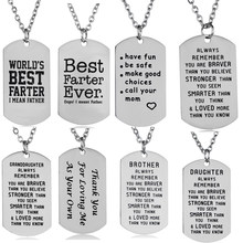 Stainless Steel Pendants Inspirational Gifts Mother Daughter Father Son Sister Chain Necklace Women Men Jewelry Gifts Mom Dad(China)