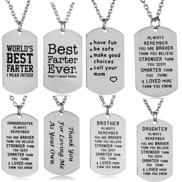 US $1 25 10% OFF|Stainless Steel Pendants Inspirational Gifts Mother  Daughter Father Son Sister Chain Necklace Women Men Jewelry Gifts Mom  Dad-in