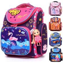 NEW 2017 Cartoon School Bag Girls Orthopedic Waterproof Backpack Children Satchel Elementary School Backpack for Boys Grade 1-4