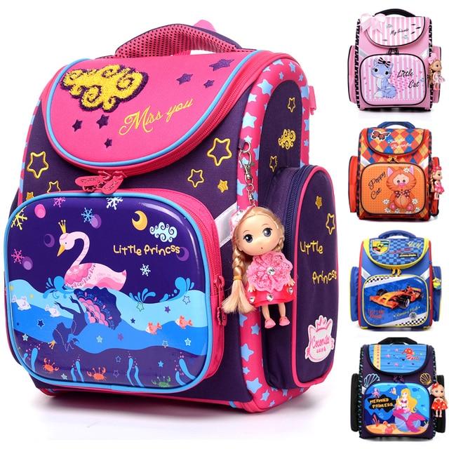d6ce236e4c NEW 2018 Cartoon School Bag Girls Orthopedic Waterproof Backpack Children  Satchel Elementary School Backpack for Boys