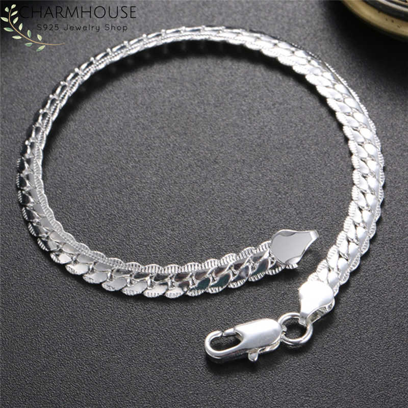 Pure 925 Silver Bracelets for Men Women 5mm Snake Chain Bracelet & Bangles Wristband Pulseira Fashion Jewelry Wholesale Bijoux