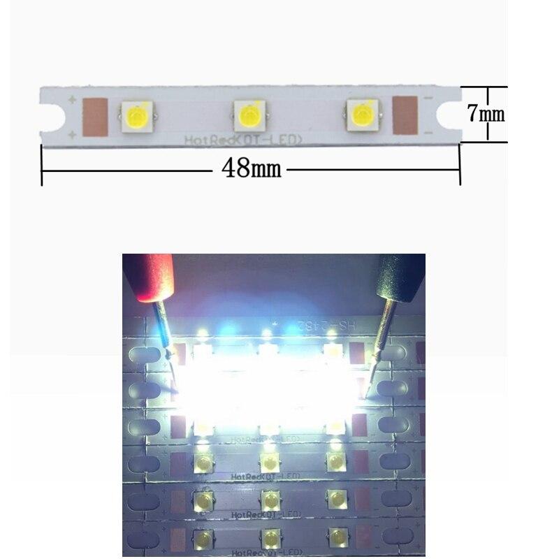 20 штук 3 Вт 9 Вт удара 3535 прямоугольник газа светодиодный источник света чип на борту 48x7 мм удара бар для стен лампы настольные фонарь автомоб...