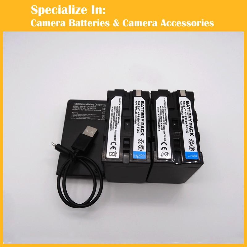 Digital Camera Li-ion 2 x Battery + charger For Sony NP-F970 NPF960 NP-F950 1400mah camera battery for sony np bg1 np fg1 dsc h3 dsc w70 bc csge bc csgd w30