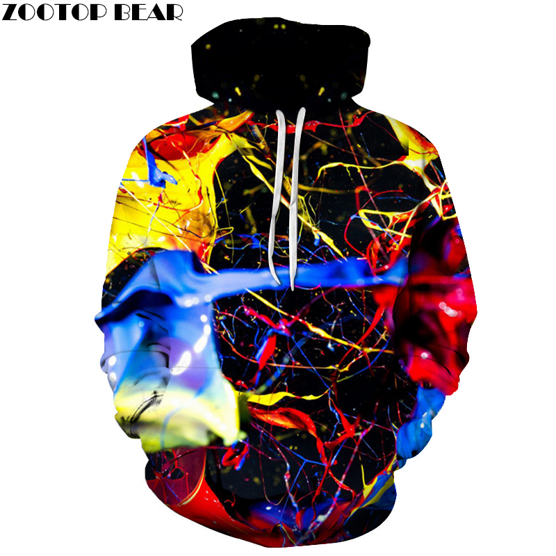Splashed paint 3D Colorful Printed Hoodies Men Sweatshirt unisex Tracksuit Fashion Hoode ...