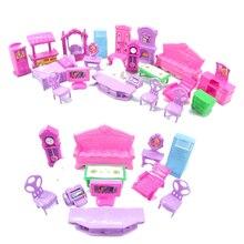 Миниатюрная мебель Номера для куклы 22 шт./компл. 3D Кукольный дом Комплект Детские KidsPretend игрушки для детей Рождественский подарок Пластик