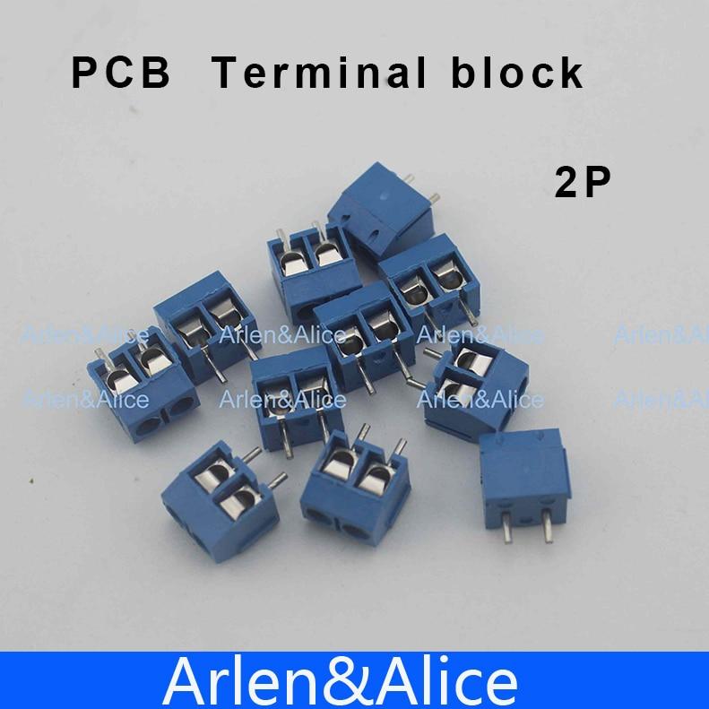 100 pcs 2 Pin Screw blue PCB Terminal Block Connector 5mm Pitch 20 pcs 8 5mm pitch 2 pin 2 way pcb barrier terminal block connector black 300v 20a