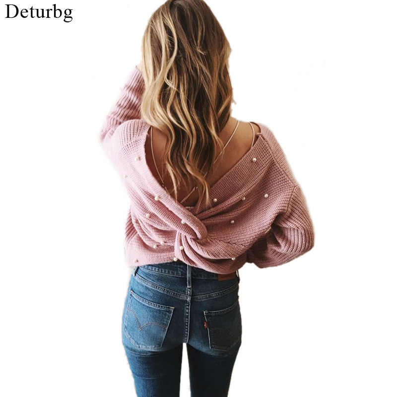 813e8a512e Women Sexy Back Cross Sweaters With Pearl Female Fashion Backless Knitted  Sweater and Pullovers Jumpers 2018
