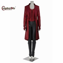 Cosplaydiy  Captain America 3 Civil War Scarlet Witch Costume Avengers Wanda Maximoff Adult Women Halloween Outfit Custom Made