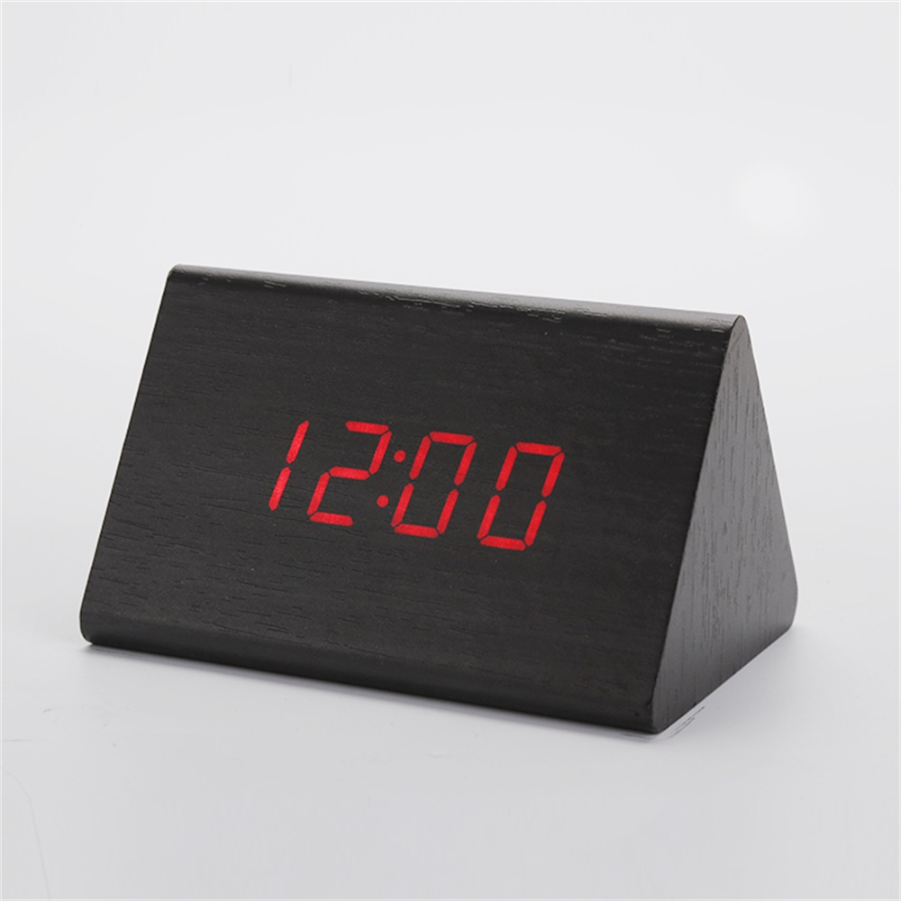 Creative Alarm Clock Black Wooden Digital Desk Clocks Sound Control Snooze Wood LED Clock Thermometer Home Decor Gift
