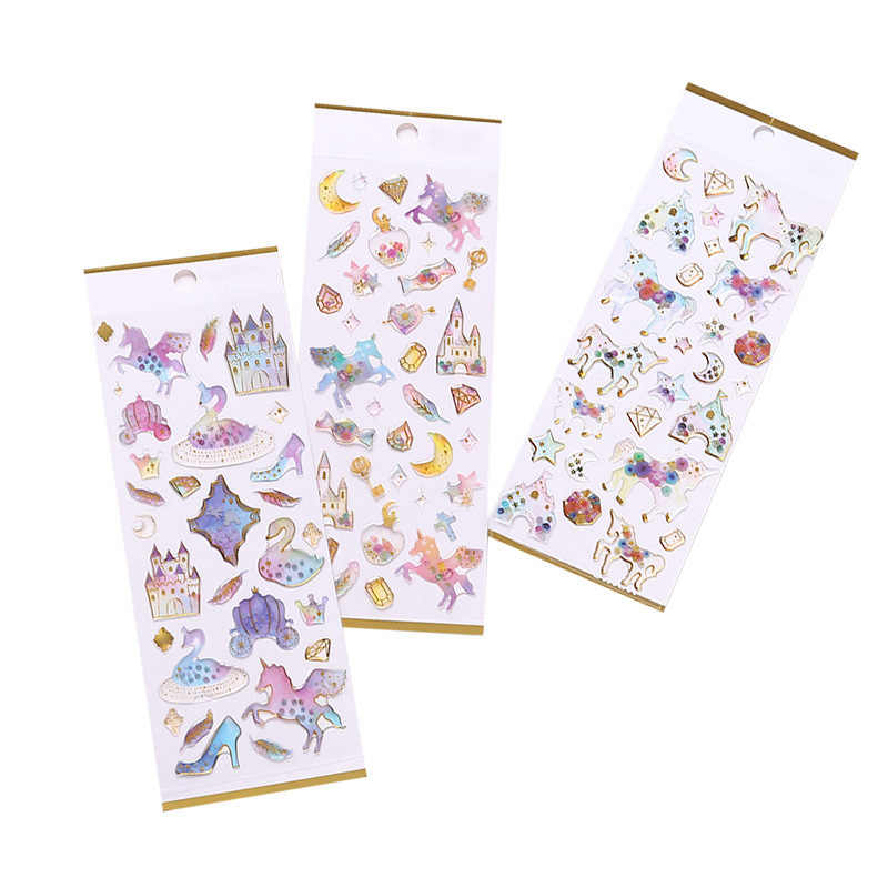 1PC Cute Stereo Waterproof Bronzing Sticker Diary DIY Scrapbooking Decorative Embellishments Creative Material Craft Paper