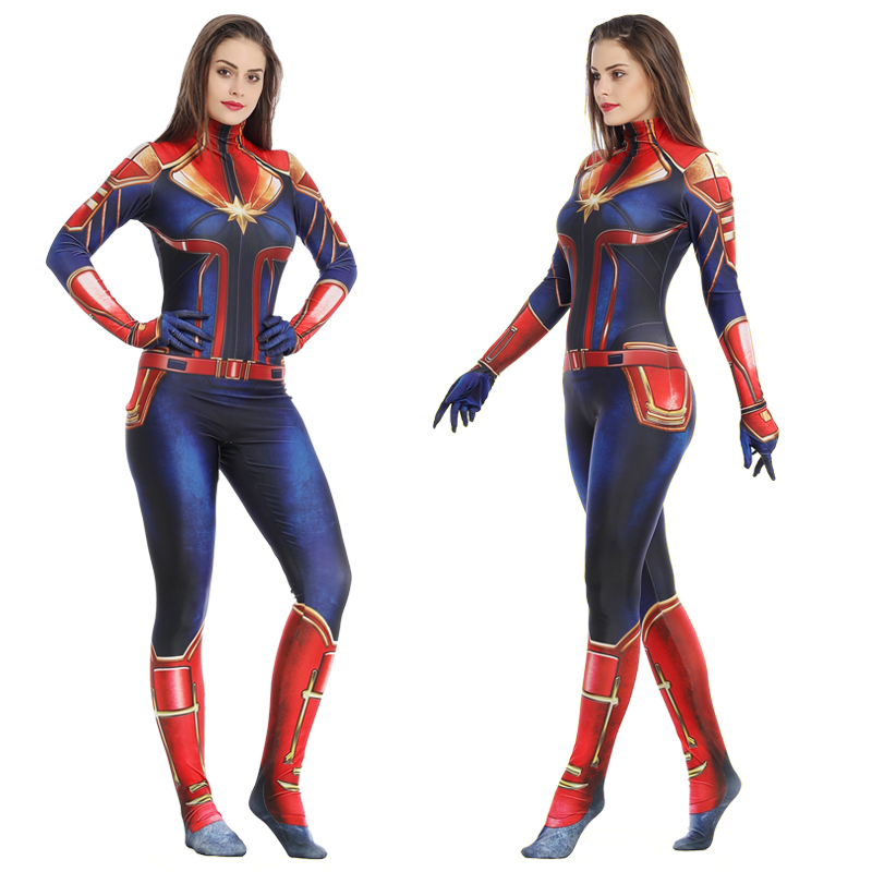Adult Women Captain Marvel Cosplay Costume Kid Girl Superhero Marvel Cosplay Halloween Ms Marvel Carol Danvers Jumpsuit Bodysuit