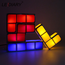 LEDIARY DIY Tetris Game LED Lights Stackable Puzzle Lamp Constructible Block Night Light EU US Socket Colorful Brick Kids Toy