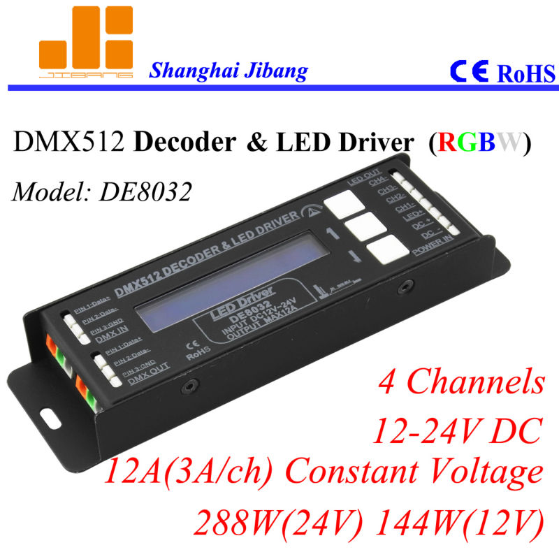 Free shipping LCD DMX RGB controller, DMX decoder and pwm driver, 4 channels/12-24V/12A/288W  pn:DE8032Free shipping LCD DMX RGB controller, DMX decoder and pwm driver, 4 channels/12-24V/12A/288W  pn:DE8032