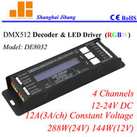 Free Shipping LCD DMX RGB Controller DMX Decoder And Pwm Driver 4 Channels 12 24V 12A