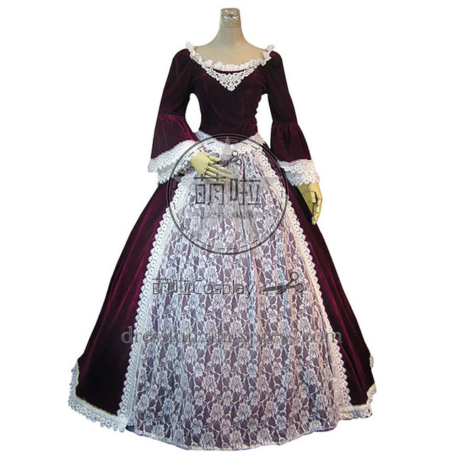 Marie Antoinette Victorian Wine Red Dress Ball Gown Prom With White Lace  Decorated Sweet And Charming For Halloween And Cosplay 901df3f4750d