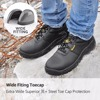 Fashion Black Men Style Work Boots Safety Shoes Extra Wide Steel Toe Anti-static Breathable Water Resistant Cow Leather 1