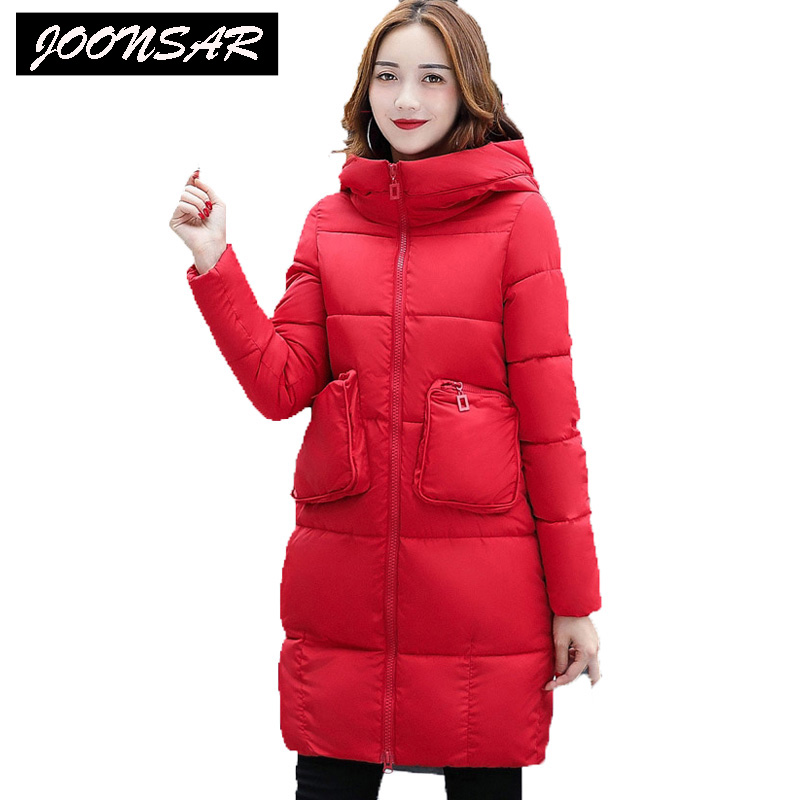 New Collocation Winter Warm Parkas Hooded Pockets Zipper Solid Thick Women Coat Slim Long Flare Slim Cotton-Padded Lady Jackets 2017 new winter coat for women slim black solid hooded long warm cotton parkas female thicker zipper red jacket padded
