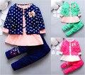 2016 primavera verão rodada dot bebé roupas terno casaco + vestido + calça 3 pcs menina infantil vestuário set roupa dos miúdos Minnie terno