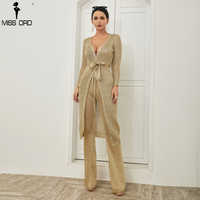 Missord 2020 Sexy Deep V Long Sleeve long top Set Hollow Out Slash See Through Two Pcs set FT18559