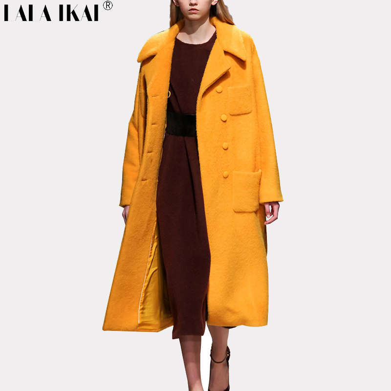 cebe4c2e8fe14 Vintage Winter Long Woolen Coat Women Turndown Collar Plaid Wool Blend  Cashmere Camel Yellow Overcoat Double Breasted SWA0265-45