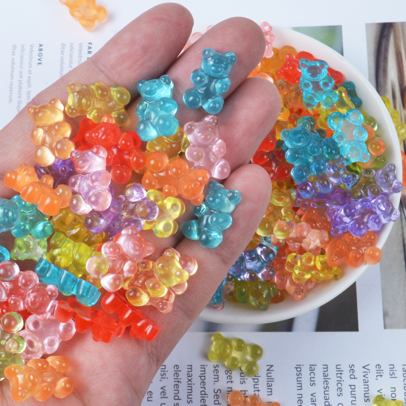 Colorful Soft Rubber Small Bear Accessories For Kids Jewelry Making Decorative Material Gummy Bear Maker Diy Phone Case Supplies