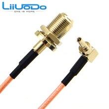 100 peças rf conector f para crc9 cabo f fêmea para crc9 rightangle rg316 rg174 trança cabo 15cm