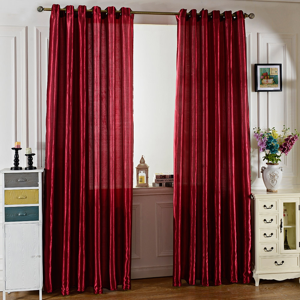 2016 fashion design pure color window curtains grommet for 3 window curtain design