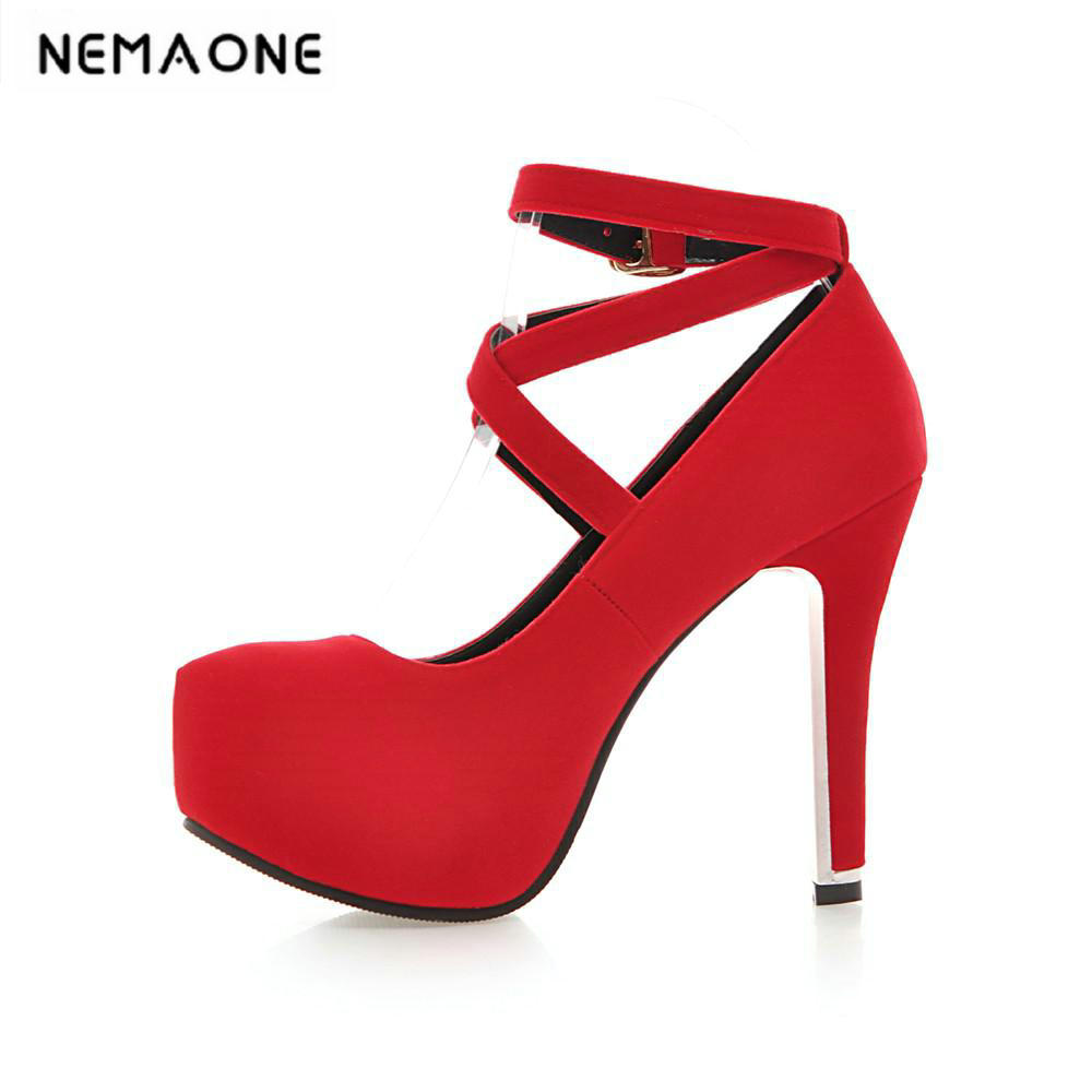 New Red Ankle Strap Party/Wedding shoes Fashion women high heel Pumps bride Wedding shoes large size 34-43 siketu 2017 free shipping spring and autumn women shoes fashion sex high heels shoes red wedding shoes pumps g107