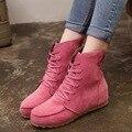 Mulheres Botas de Inverno 2015 de Moda de Nova Mulher Sapatos de Couro Rebanho Lace-up Botas de Neve Tornozelo Martin Bota Ocasional Selvagem botsa Mujer BT2