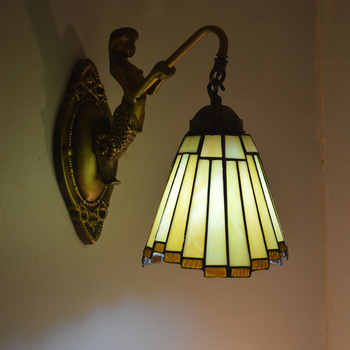 Tiffany Wall Lamp Modern Mirror Stair Bedroom Bathroom Decor Fixtures Mermaid Stained Glass Wall Sconce E27 110-240V - DISCOUNT ITEM  15% OFF All Category