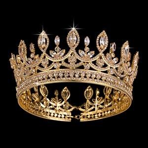 Image 2 - Hadiyana New Bride Retro Crown Copper CZ Bright Rhinestone Wedding Accessories Princess Hair A Big Full Crowns Tiaras BC3684
