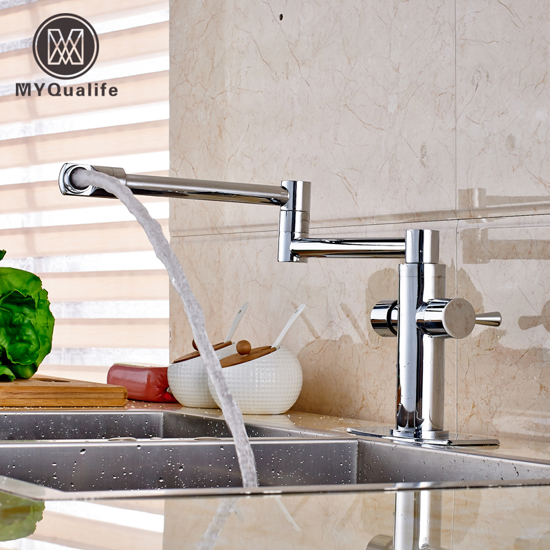 купить Modern Flexible Folding Neck Kitchen Sink Faucet Chrome Brass Bathroom Hot and Cold Mixer Taps Deck Mounted в интернет-магазине