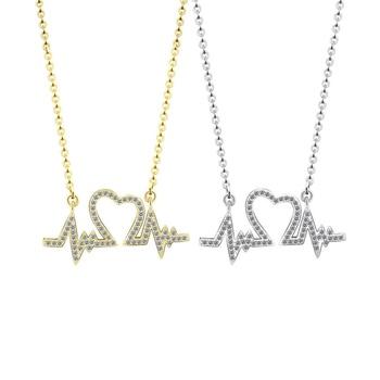 300723cef429 Collar de pulso de moda ECG médico estetoscopio amor corazón  electrocardiograma colgante collares enfermera Doctor Collier Femme